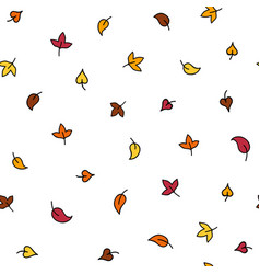 Minimalistic autumn leaves doodle seamless pattern vector