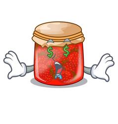 Money eye strawberry jam glass isolated on cartoon vector