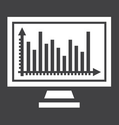 Monitor chart solid icon business and graph vector