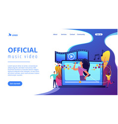 Music video concept landing page vector