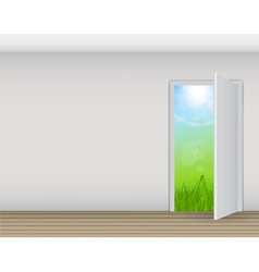 Open white door on a white wall with nature vector image