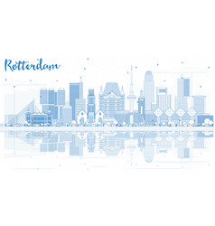Outline rotterdam skyline city with blue vector