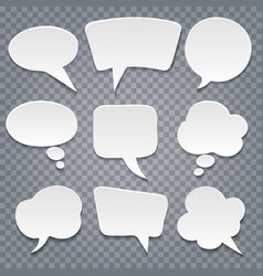 Paper cut speech bubbles set vector