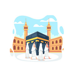 People in hajj pilgrimage wearing ihram vector