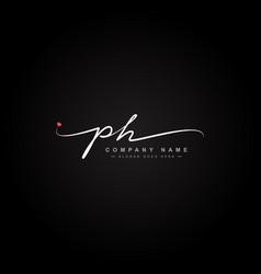 Ph initial letter logo - hand drawn signature logo vector