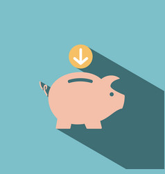 Piggy bank icon on blue background vector