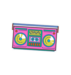 pink retro music boombox icon isolated on white vector image
