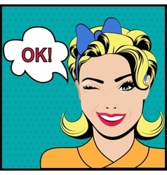 Pop art winking woman with ok speech bubble vector