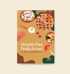 poster template with autumn daily concept design vector image