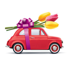 Retro car with tulips isolated on white realistic vector