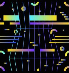 retro futuristic seamless pattern with gradient vector image