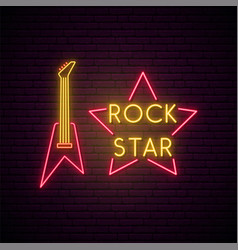rock music neon sign bright light guitare vector image