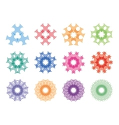 Round ornaments set Abstract creative flowers vector