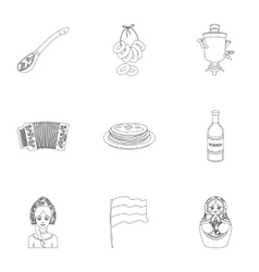 Russia country set icons in outline style Big vector