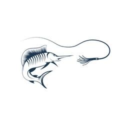 Sailfish and lure vector