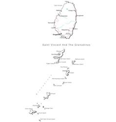 Saint Vincent Grenadines Black White Map vector image