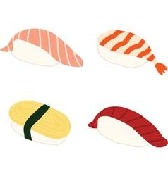 Salmon Shrimp Sweet omlette Tuna Sushi vector image