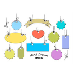 set 11 colorful hand drawn labels and banners vector image