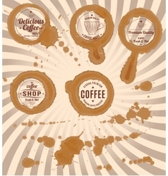 Set coffee stains with stamps and splashes vector