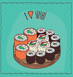 set of different sushi rolls maki or makizushi vector image