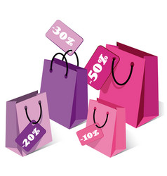 Set of empty shopping bags vector