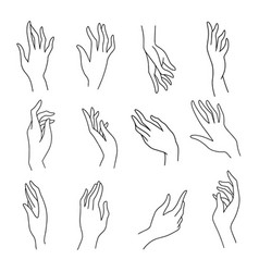 set simple female hands art drawings symbols vector image