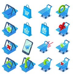 Shopping cart icons set isometric style vector