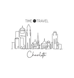single continuous line drawing charlotte city vector image