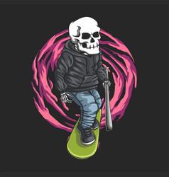 skull skateboard vector image