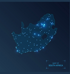 South africa map with cities luminous dots - neon vector