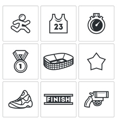 Sports jogging discipline icons set vector image