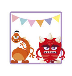Square frame with funny monsters and garlands vector