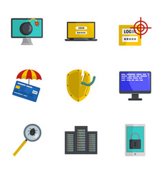 steal information icons set cartoon style vector image