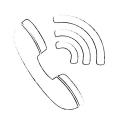 telephone service with waves signal vector image