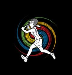 Tennis player running woman play vector