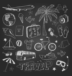 Travel doodles icons sketch on black chalkboard vector