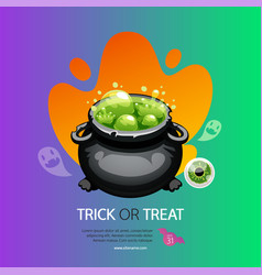 Trick or treat halloween greeting card with pot vector