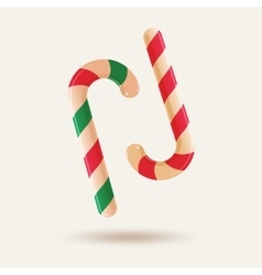 Two christmas candy canes isolated on white vector image