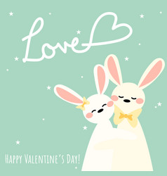 valentines day background with cute rabbits couple vector image