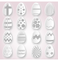 various Easter eggs design from white paper vector image