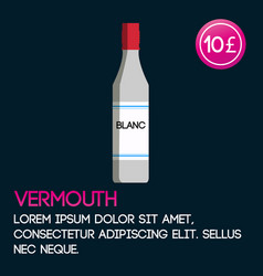 Vermouth card template with price and flat vector