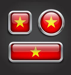 Vietnam flag glass buttons vector