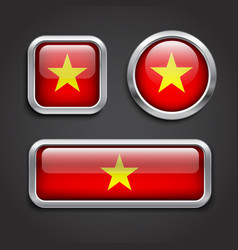 Vietnam flag glass buttons vector image