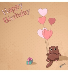 Vintage birthday postcard with cat gift and vector