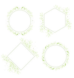 watercolor green leaves wreath frame collection vector image