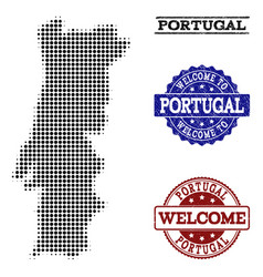 Welcome collage of halftone map of portugal and vector