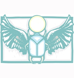 Winged Scarab Color vector image