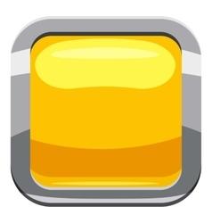 Yellow square button icon cartoon style vector