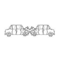 accident of two cars sketch vector image