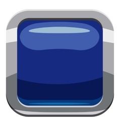 Blue square button icon cartoon style vector image